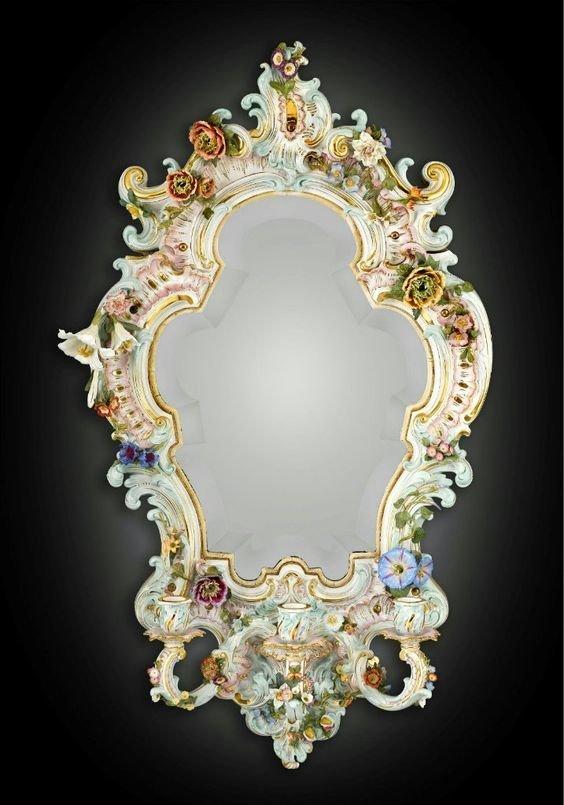 Фарфоровое зеркало Мейсен, 1890 год антиквариат, зеркала, интересное, красота, факты