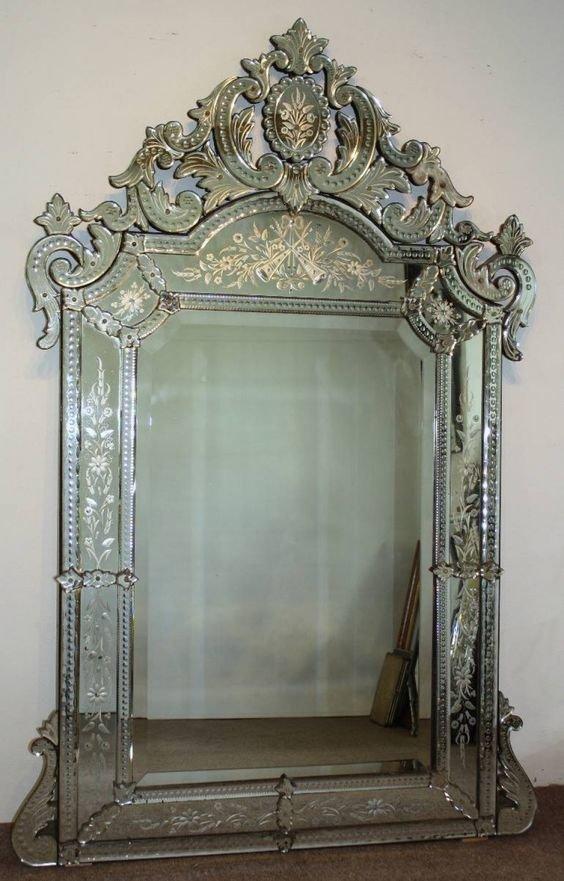 Венецианское зеркало, полностью стеклянное, 18 век антиквариат, зеркала, интересное, красота, факты