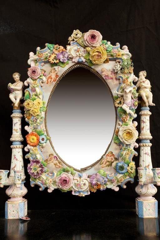 Фарфоровое зеркало, Дрезден, 1870-е антиквариат, зеркала, интересное, красота, факты
