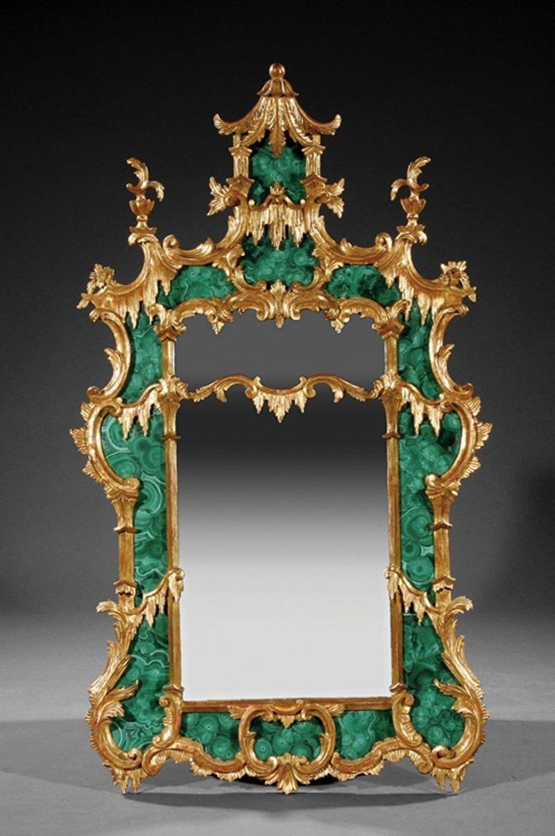 Зеркало Чиппендейла в китайском стиле, малахит, позолота, 18 век антиквариат, зеркала, интересное, красота, факты