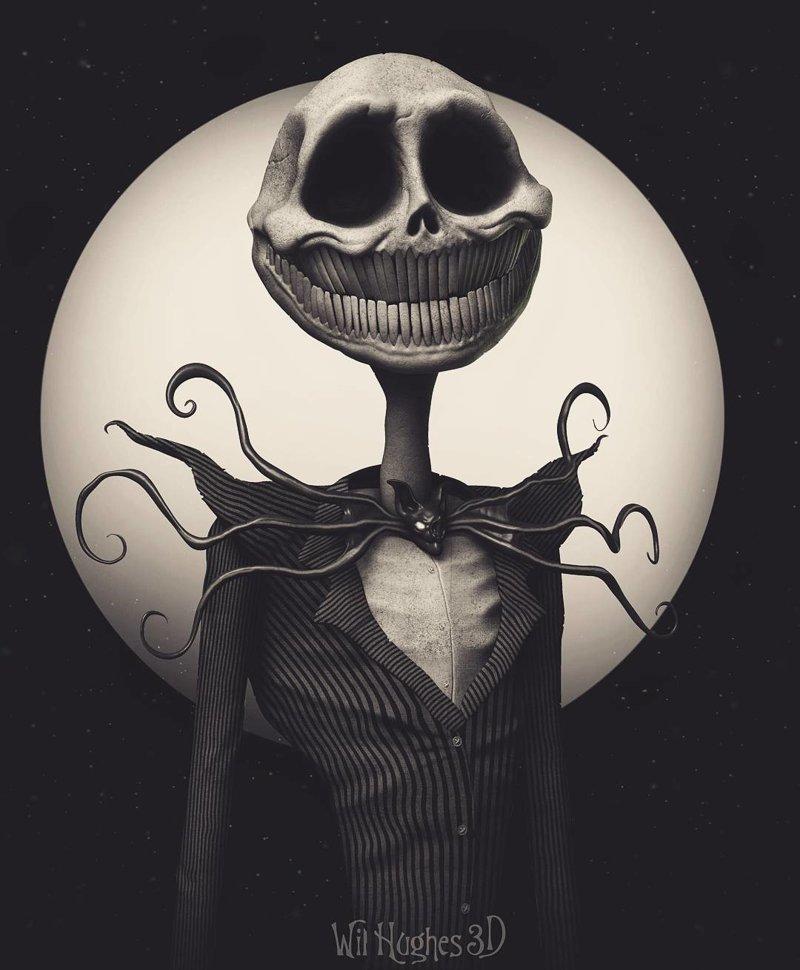 Джек Скеллингтон (Кошмар перед рождеством) искусство, персонажи, рисунки, ужастики