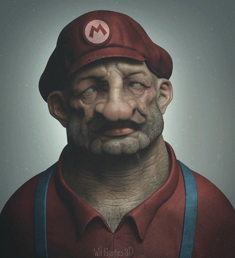 Марио искусство, персонажи, рисунки, ужастики