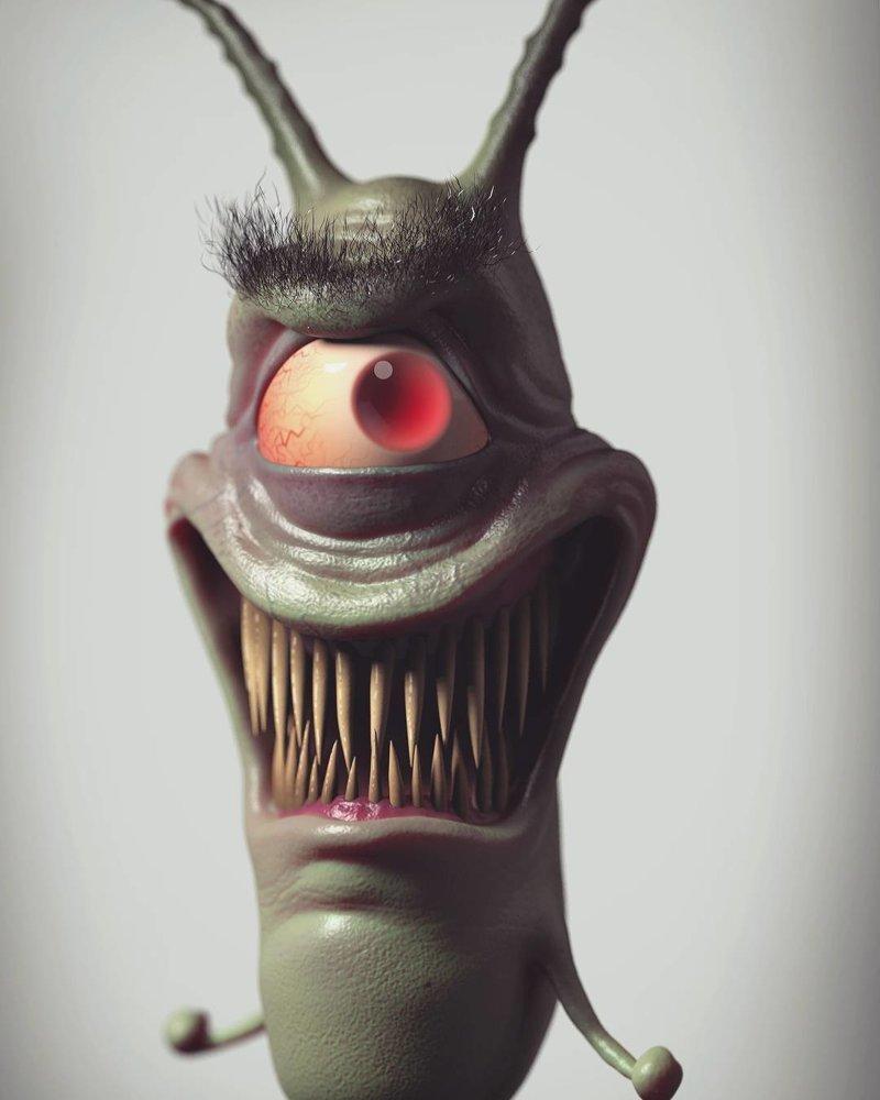 Шелдон Планктон (Губка Боб Квадратные штаны) искусство, персонажи, рисунки, ужастики