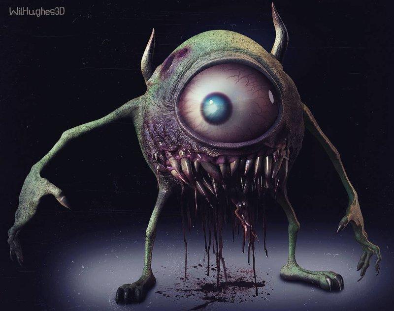 Майк Вазовски (Корпорация монстров) искусство, персонажи, рисунки, ужастики