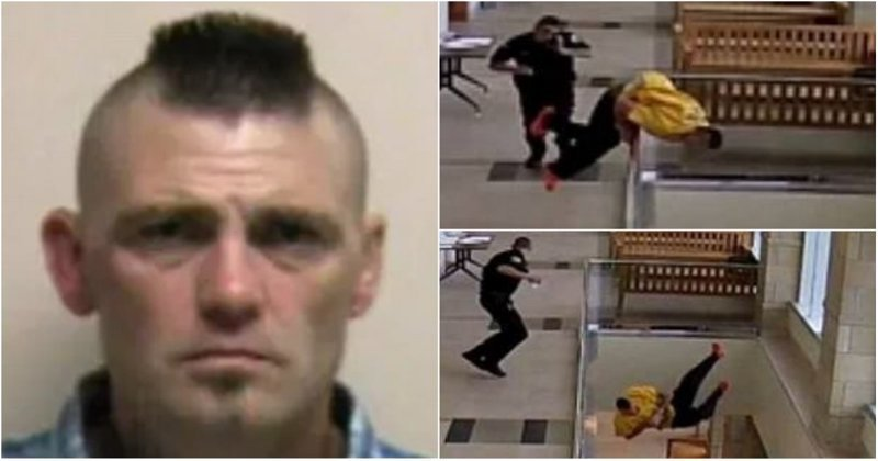 В США наркоторговец спрыгнул со второго этажа в здании суда видео, наркотики, падение, побег, полиция, преступник, суд, сша