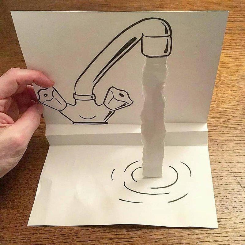 Художник с помощью рваной бумаги создает невероятные рисунки HuskMitNavn, бумага, искусство, рисунки, художник