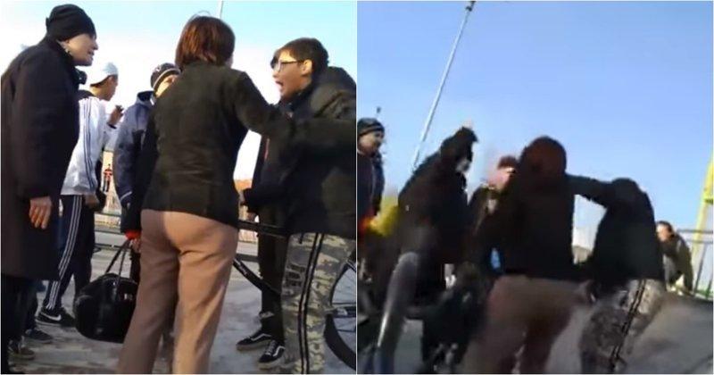 Мамочки набросились с кулаками на подростка из-за его желания покататься на спортивной площадке видео, дети, драка, инцидент, казахстан, конфликт, подросток, яжемать