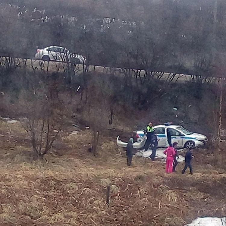 В Мурманске во время погони полицейские улетели в кювет авария, авто, видео, гибдд, дтп, кювет, погоня, преследование