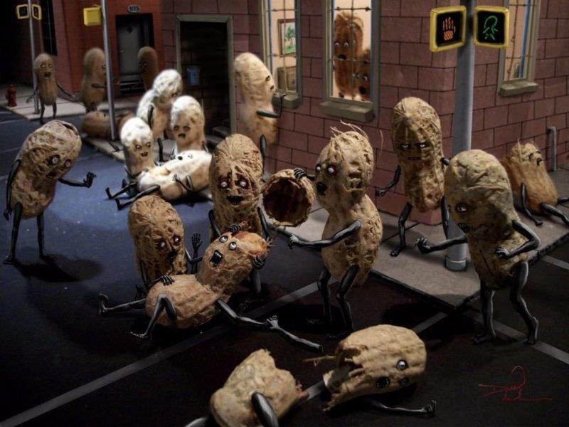 Зомби на улицах  арахис, дизайн, искусство, комиксы, художник