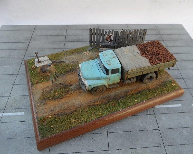 Зил 130 с картошкой диорама, зил-130, моделизм