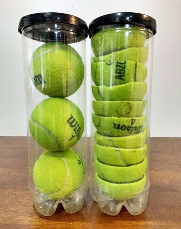 Разрежьте теннисные мячики пополам, так их в банку поместится гораздо больше Лайфхак, идея, советы, хитрости, юмор