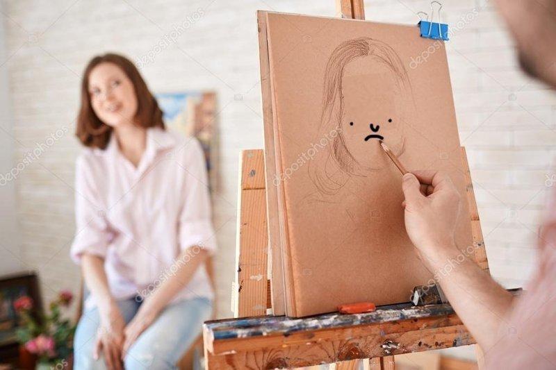 «Художник — очень перспективная профессия» кадр, люди, прикол, профессия, снимок, стоковое фото, юмор