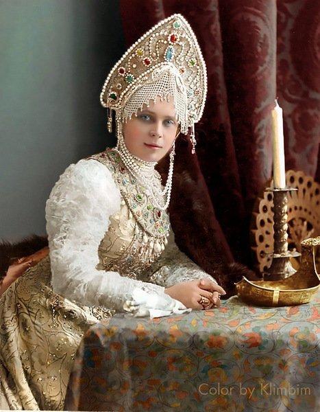 Княгиня Зинаида Николаевна Юсупова на костюмированном балу 1903 года. колоризация, личности, портреты