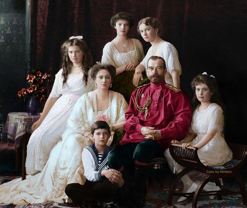 Царская семья, 1914 год. колоризация, личности, портреты