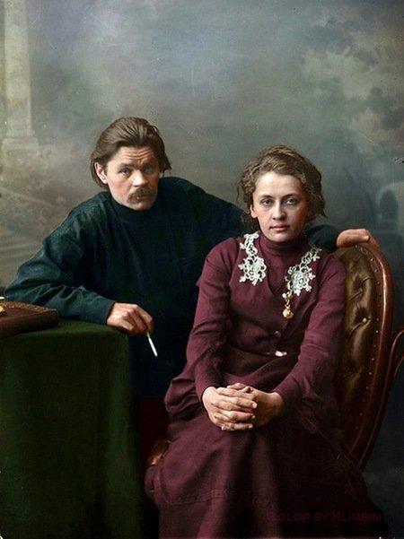 Максим Горький с женой Екатериной Пешковой. колоризация, личности, портреты