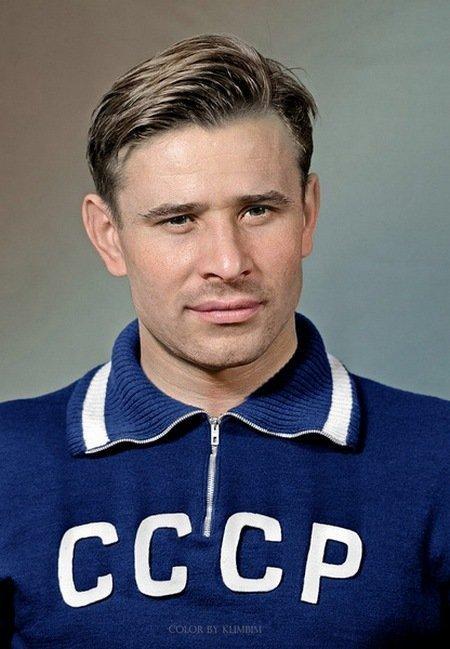 Футбольный вратарь Лев Яшин. колоризация, личности, портреты