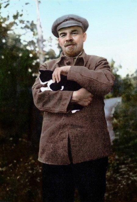 В.И. Ленин с котом, 1922 год. колоризация, личности, портреты