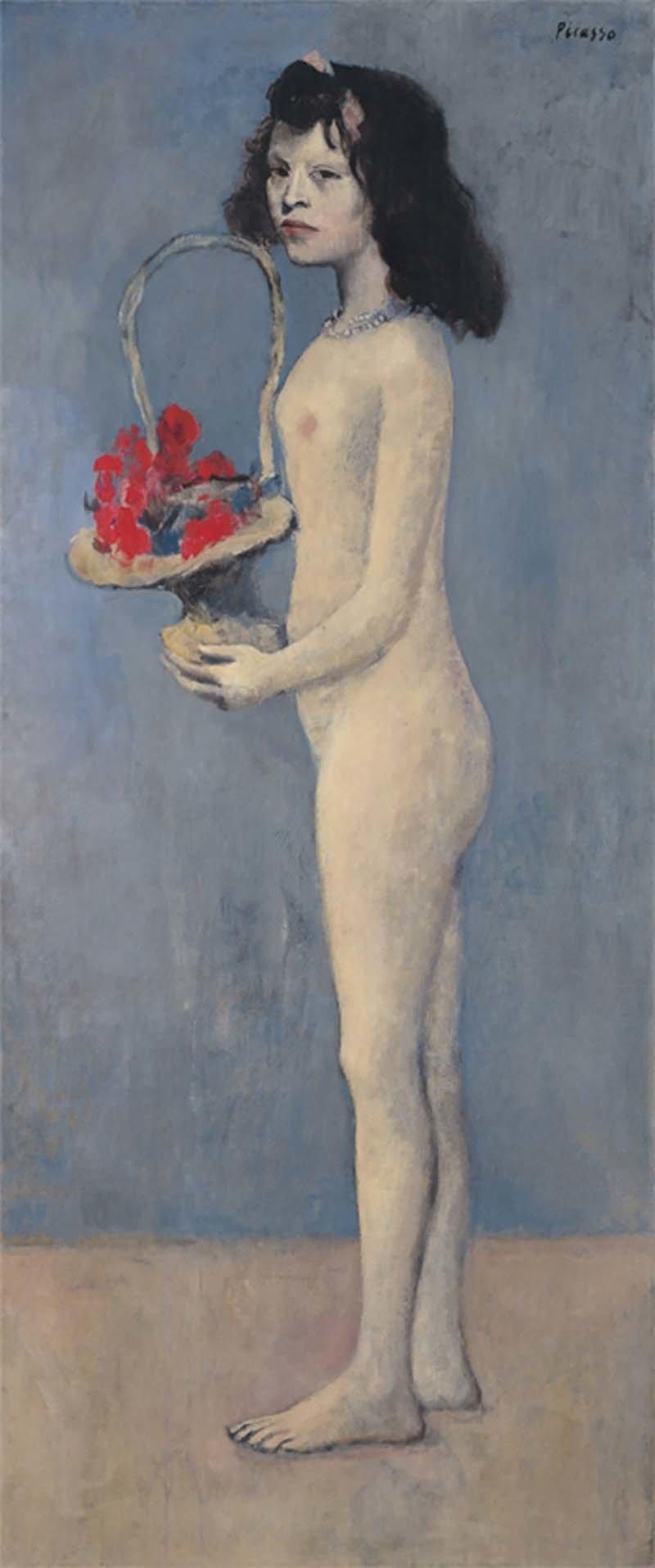 «Девушка с корзиной цветов», Пабло Пикассо аукцион, искусство, картина, коллекция Рокфеллера, художник