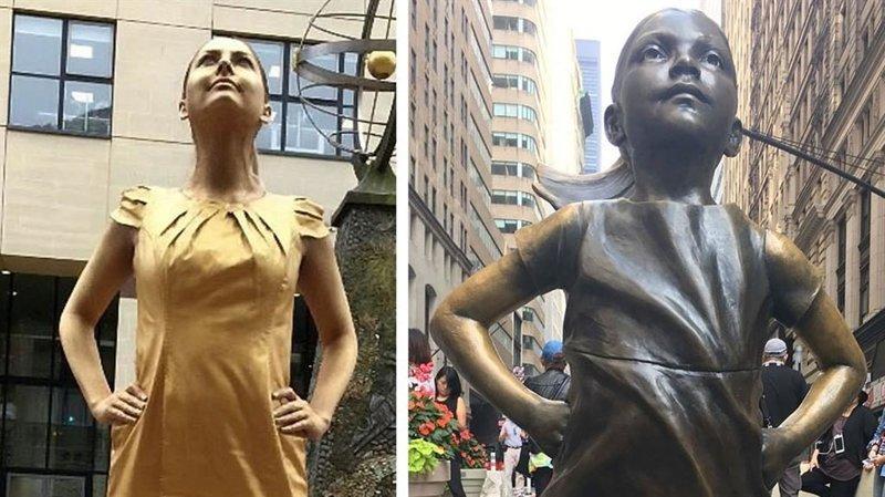 Девушка превратилась в скульптуру, чтобы её взяли на работу в мире, люди, работа, скульптура, смекалка