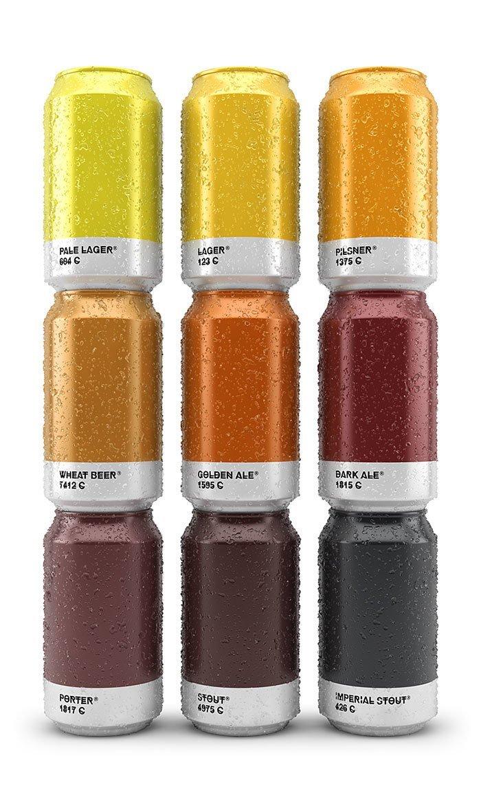 2. Банки пива в цветовой палитре по сорту  Стиль, вещь, дизайн, минимализм, подборка, простота, фото