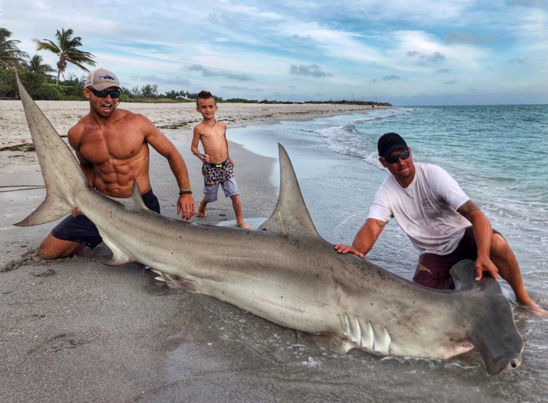 Американец поймал огромную акулу-молот. Но в центре внимания оказался далеко не улов! акула, акула молот, вирусные фото, рыбак, рыбалка, рыбы, спортсмен, фото