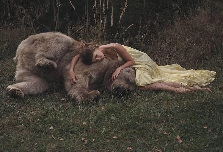 Многие сюжеты для фотосессии вдохновлены русскими сказками девушки, животные, опасно, природа, фото, фотограф, фотосессии, хищники