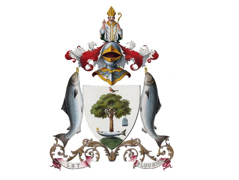 7. геральдика, гербы, лосось, павлин, русалка, святые, символы