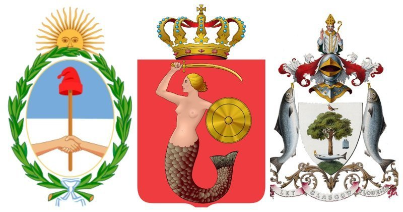 Гербовые легенды и загадки геральдика, гербы, лосось, павлин, русалка, святые, символы