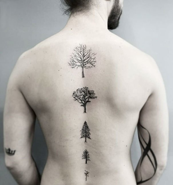 Тату на спине: подборка красивых татуировок вдоль позвоночника искусство, красиво, подборка, позвоночник, рисунки на теле, тату, татуировки, фото