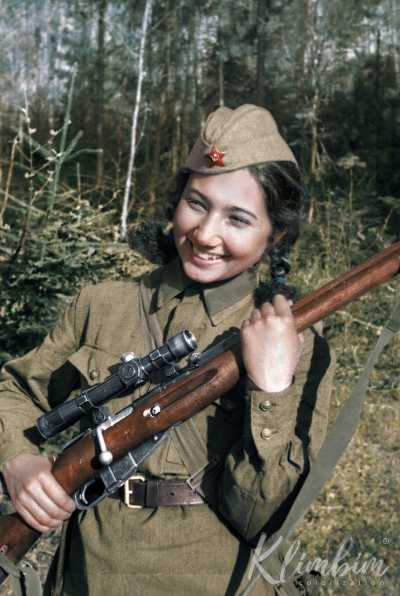 Снайпер Зиба Ганиева,  1942 год   история, люди, события 20 века