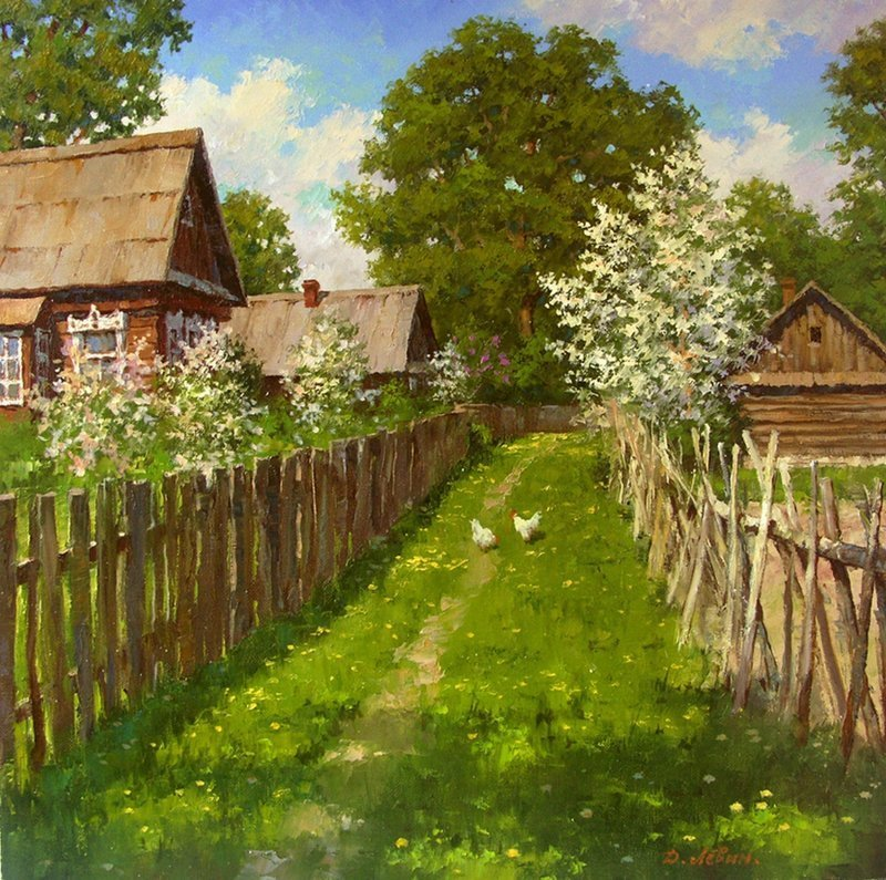 Пейзажи Дмитрия Левина деревня, искусство, картины, красота, современные художники, талант