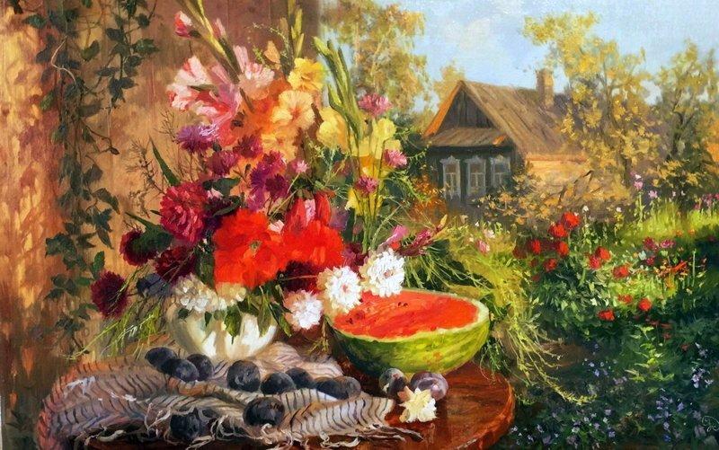 Деревня в картинах современных художников деревня, искусство, картины, красота, современные художники, талант