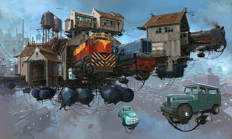 Поезда.  Серия Universo Chatarra. (Вселенная хлама) Альтернативные Миры, творчество, художники