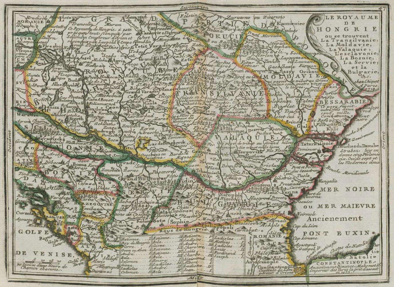 Карта Венгрии, 1719 г. maps, балканы, картографическая подборка, картография, карты, карты Балкан