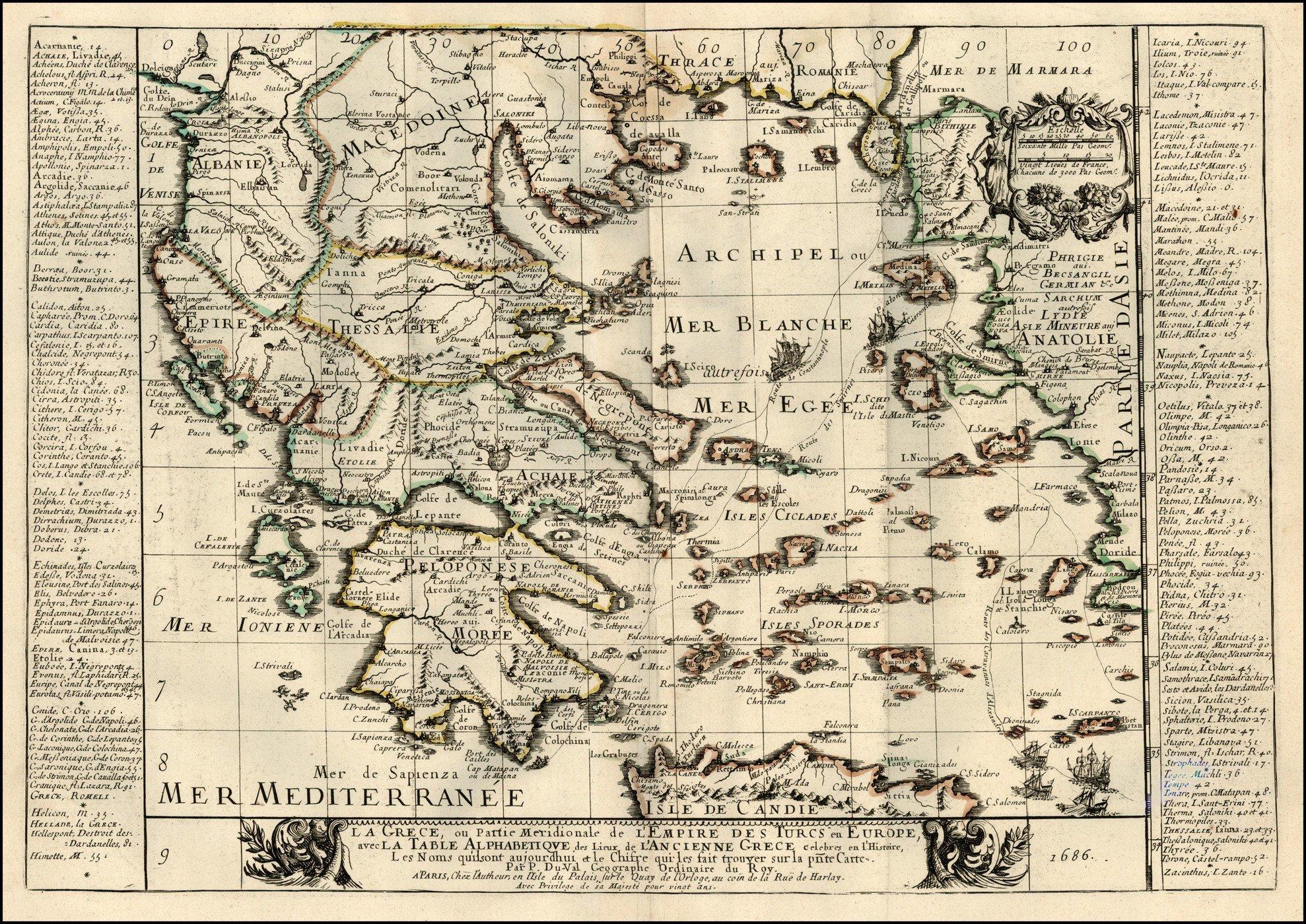 Карта Греции, 1686 г. maps, балканы, картографическая подборка, картография, карты, карты Балкан