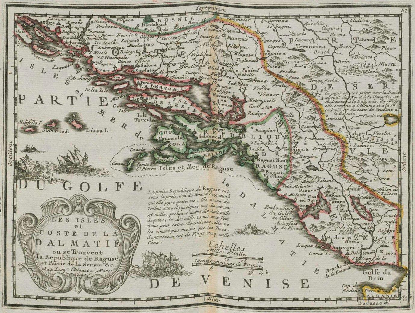 Карта Далмации, 1719 г. maps, балканы, картографическая подборка, картография, карты, карты Балкан