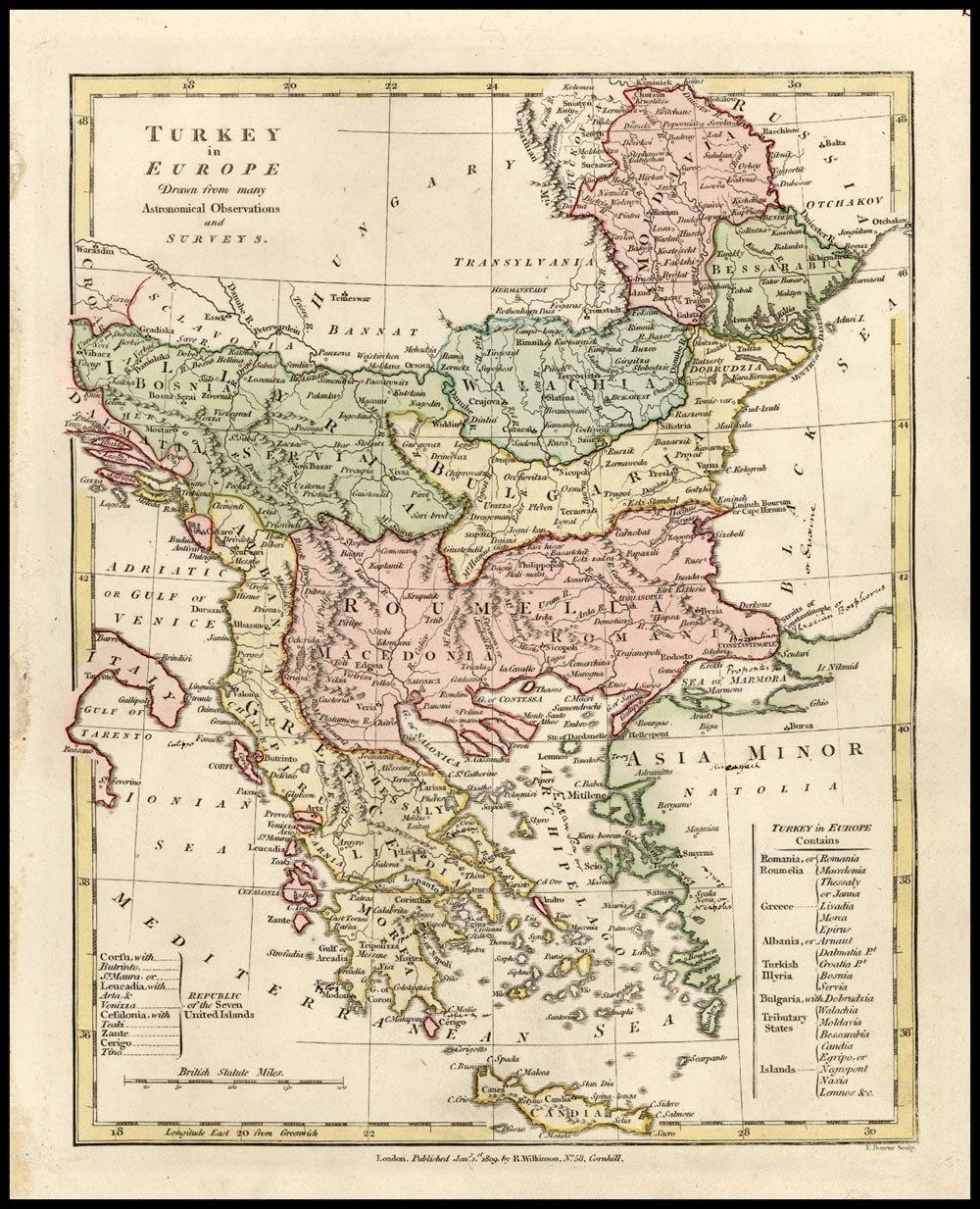 Карта региона, 1809 г. maps, балканы, картографическая подборка, картография, карты, карты Балкан