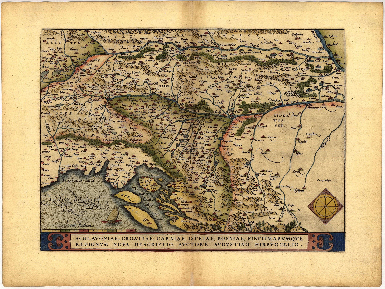 Словения, Хорватия и Босния, 1570 г. maps, балканы, картографическая подборка, картография, карты, карты Балкан