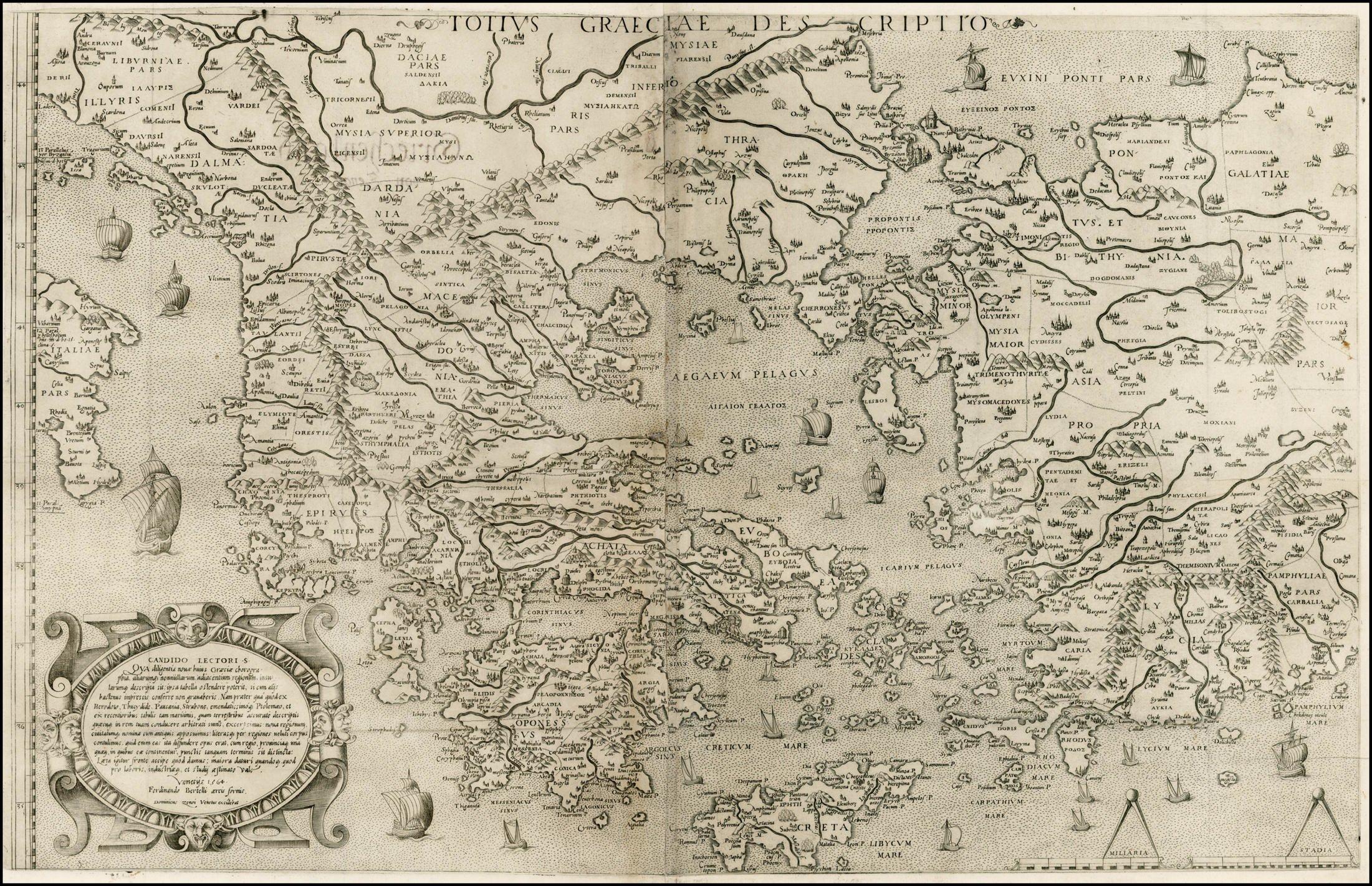 Карта Греции, 1564 г. maps, балканы, картографическая подборка, картография, карты, карты Балкан