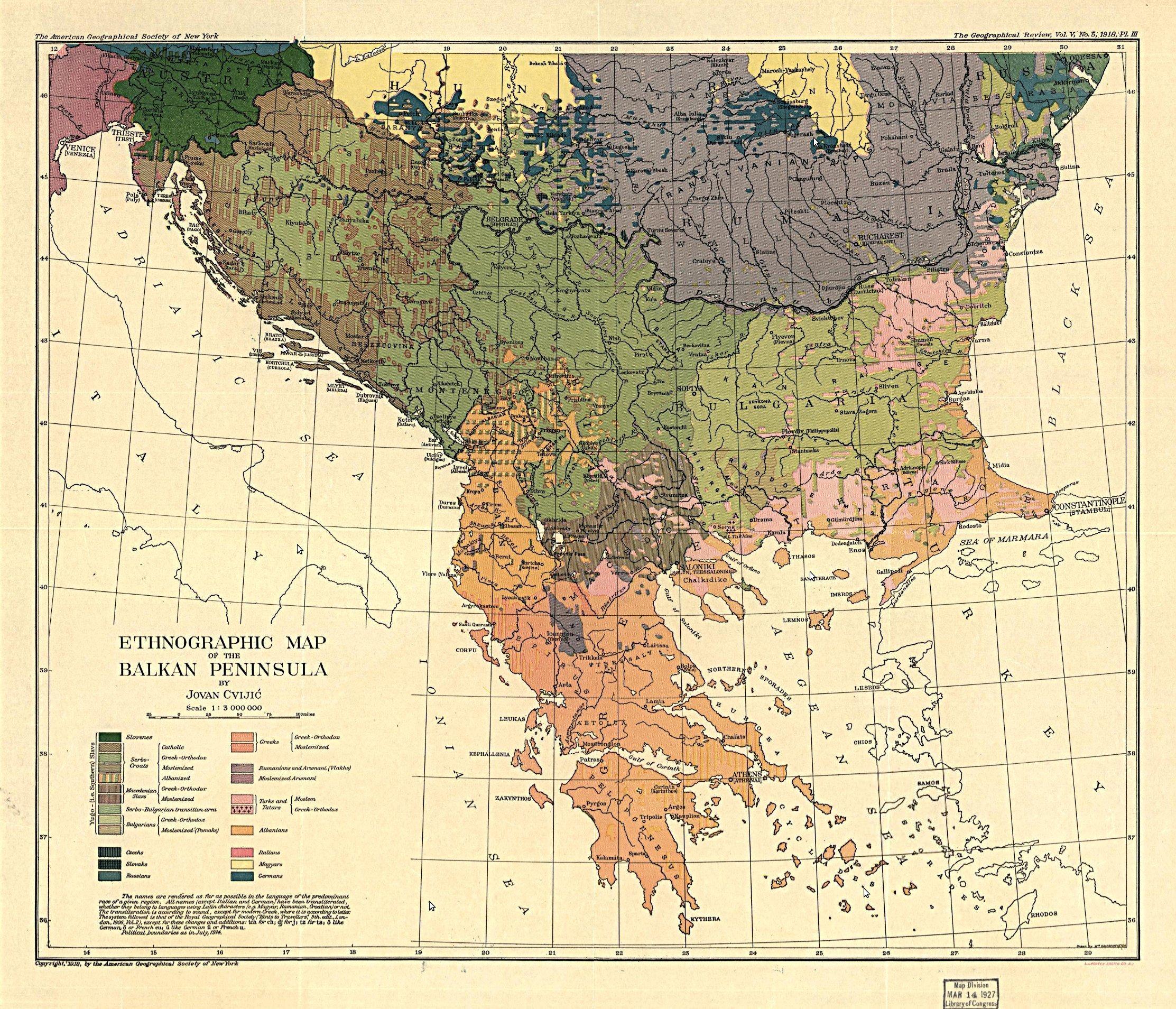 Этнографическая карта Балкан, 1918 г. maps, балканы, картографическая подборка, картография, карты, карты Балкан