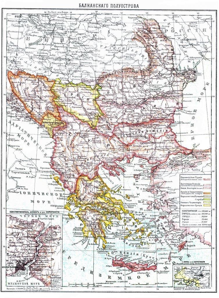 Карта Балканского полуострова, 1901 г. maps, балканы, картографическая подборка, картография, карты, карты Балкан