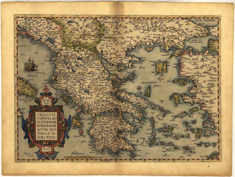 Карта Греции, 1570 г. maps, балканы, картографическая подборка, картография, карты, карты Балкан
