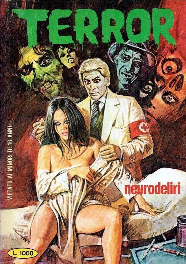 """Винтажные рисованные журнальные красотки прошлого журнала ужасов """"Terror"""" винтаж, журнал, рисунок, ужас"""