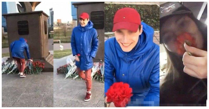 """""""Как пахнут деды?"""": парень преподнес девушке гвоздику с мемориала памяти ynews, ветераны, видео, вов, красноярск, памятник"""