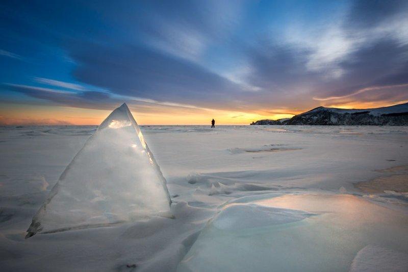 Рассвет над озером Зимняя сказка, байкал, зима, красота, лед, снег, фото, фоторепортаж