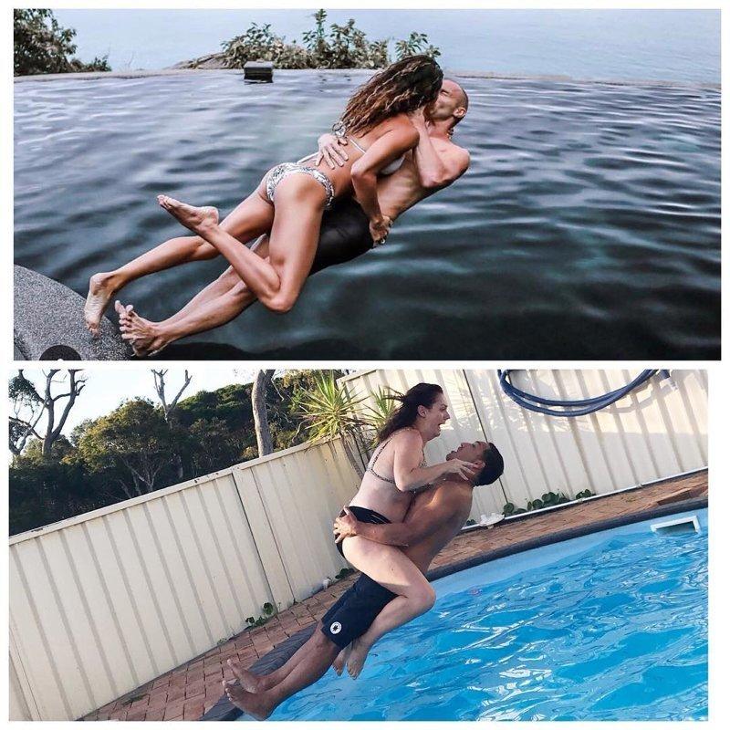 Австралийка «воссоздаёт» гламурные фото так, как бы это выглядело не в глянцевом журнале, а в жизни Селеста Барбер, в мире, забавно, люди, пародия, умора, юмор