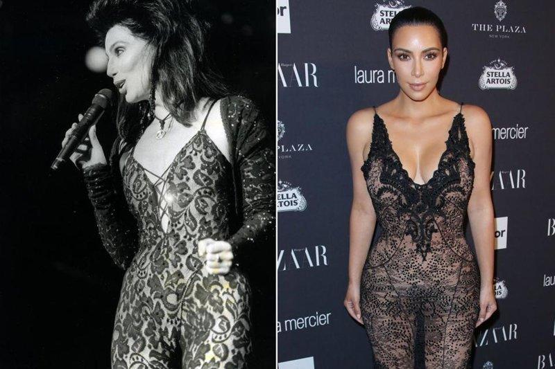 Ким Кардашьян критикуют за незатейливый и «завистливый» плагиат стиля Шер КИМ КАРДАШЬЯН, знаменитости, наряд, одежда, плагиат, подражание, шер