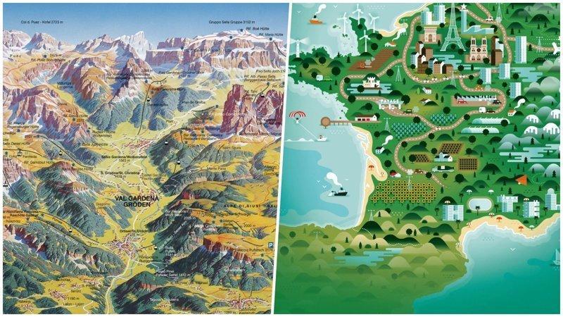 Географические карты как произведения искусства география, искусство, карты