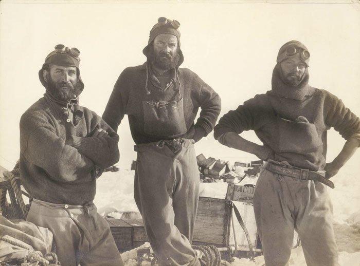 Участники экспедиции Дуглас Моусон, австралия, антарктида, изучение Антарктики, научная экспедиция, полярные исследователи, поход во льдах, фотосвидетельства