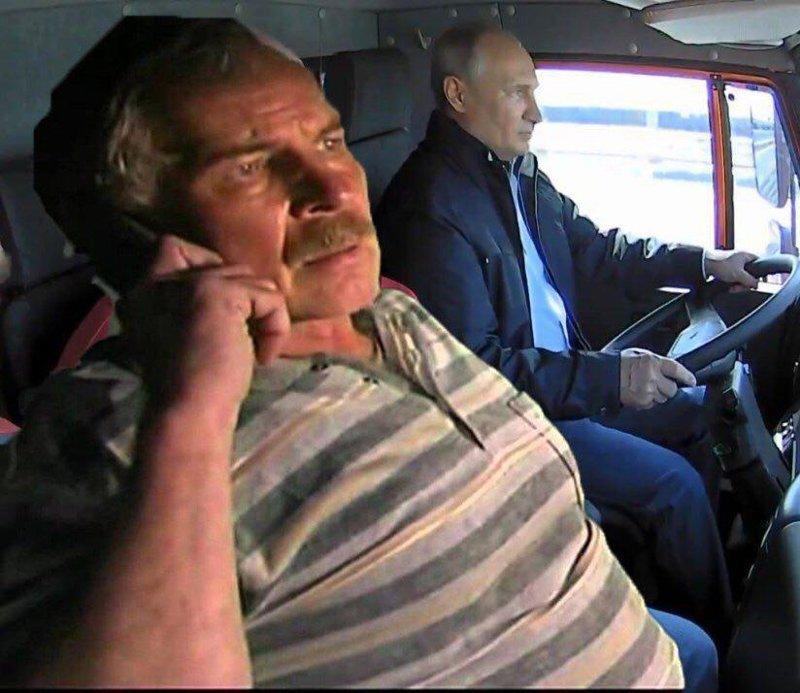 Не могли не вспомнить про дальнобойщиков Керческий пролив, Крымский мост, открытие моста, путин, реакция соцсетей